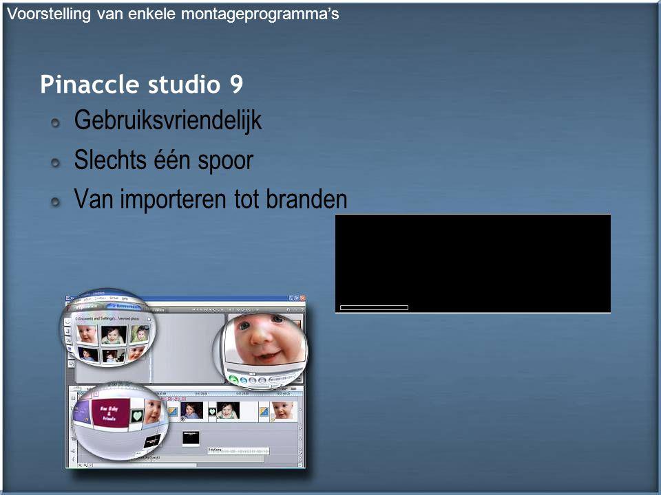 Pinaccle studio 9 Gebruiksvriendelijk Slechts één spoor Van importeren tot branden Voorstelling van enkele montageprogramma's