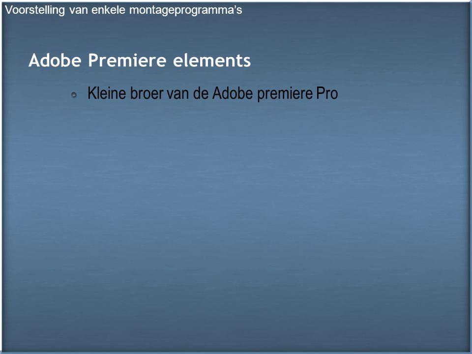 Adobe Premiere elements Kleine broer van de Adobe premiere Pro Voorstelling van enkele montageprogramma's