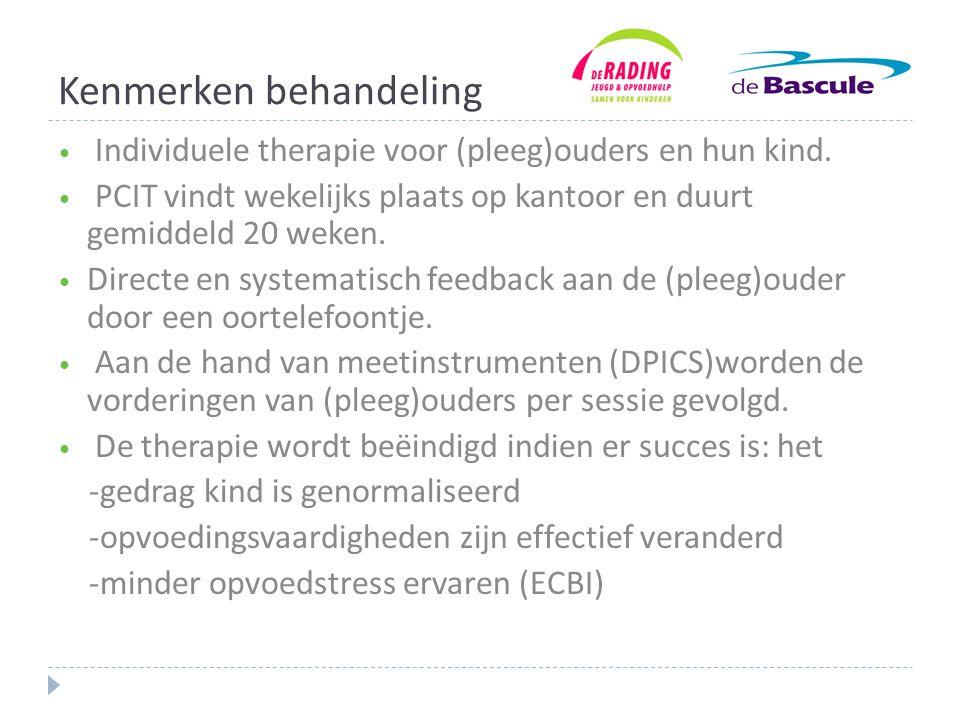 Kenmerken behandeling • Individuele therapie voor (pleeg)ouders en hun kind.
