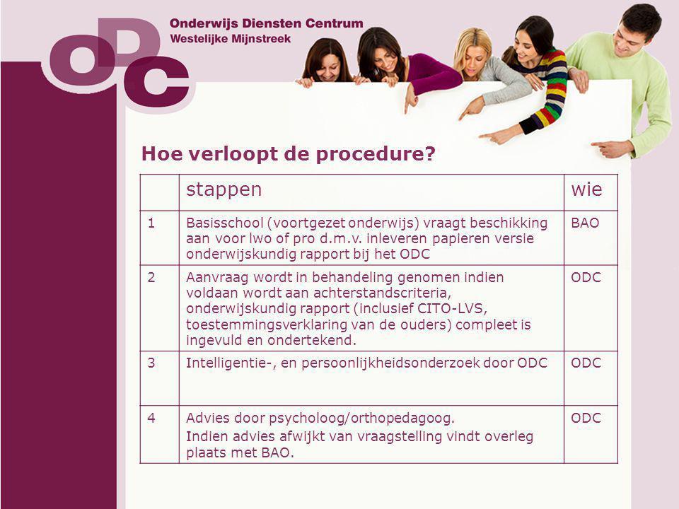 Hoe verloopt de procedure? stappenwie 1Basisschool (voortgezet onderwijs) vraagt beschikking aan voor lwo of pro d.m.v. inleveren papieren versie onde