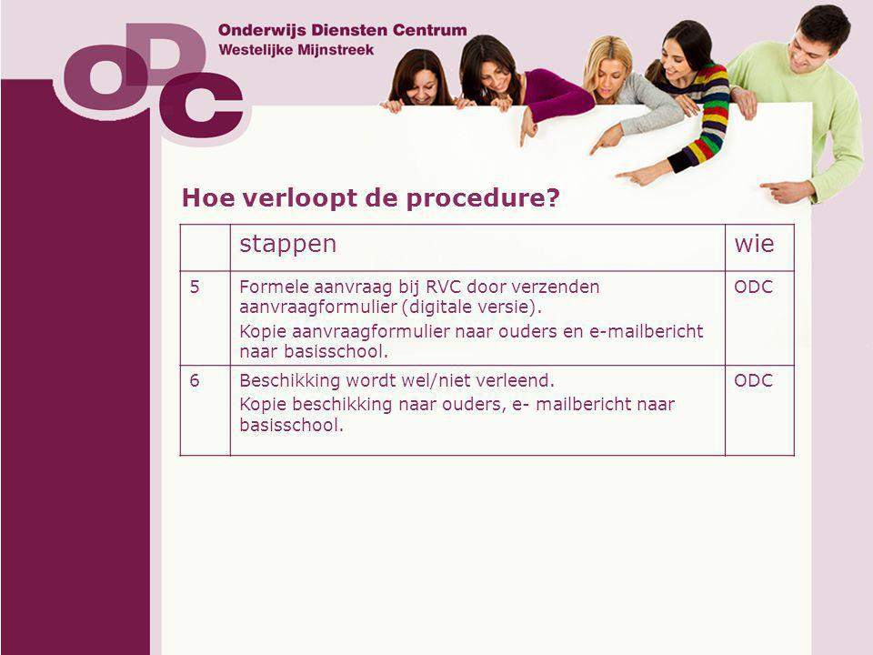 Hoe verloopt de procedure? stappenwie 5Formele aanvraag bij RVC door verzenden aanvraagformulier (digitale versie). Kopie aanvraagformulier naar ouder