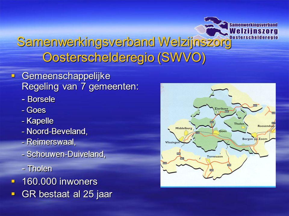 Samenwerkingsverband Welzijnszorg Oosterschelderegio (SWVO)  Gemeenschappelijke Regeling van 7 gemeenten: - Borsele - Goes - Kapelle - Noord-Beveland, - Reimerswaal, - Schouwen-Duiveland, - Tholen  160.000 inwoners  GR bestaat al 25 jaar