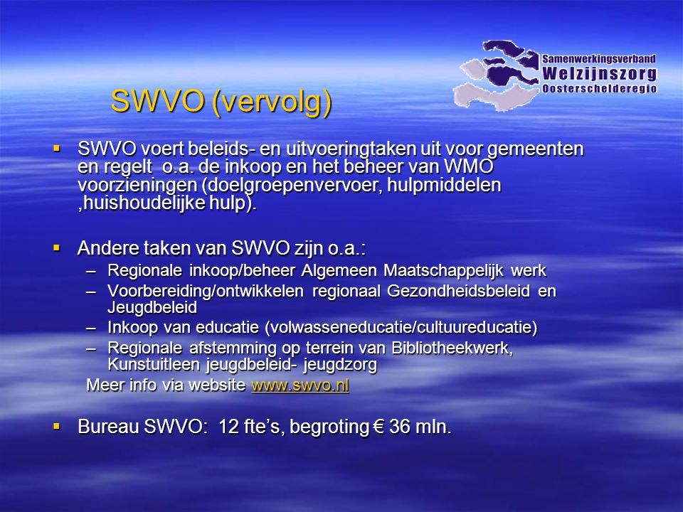 Historie in samenwerking doelgroepenvervoer  Gezamenlijke en gebundelde aanbesteding doelgroepenvervoer in 2007 (AWBZ, Leerlingenvervoer en WMO-vervoer) vanuit gedachte kwaliteitsverbetering en efficiëntere inkoop (schaalvoordeel)  Gezamenlijk beheer en overleg via SWVO waarbij frontofficefunctie bij gemeente blijft en backofficefunctie bij SWVO (aanbesteding