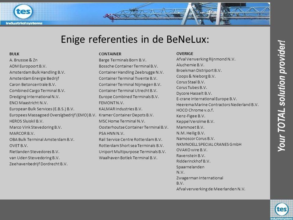 Enige referenties in de BeNeLux: BULK A. Brussse & Zn ADM Europoort B.V. Amsterdam Bulk Handling B.V. Amsterdam Energie Bedrijf Caron Betoncentrale B.