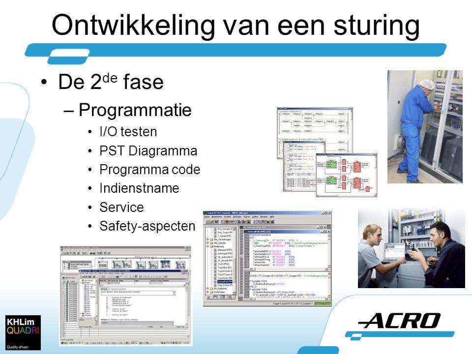 •De 2 de fase –Programmatie •I/O testen •PST Diagramma •Programma code •Indienstname •Service •Safety-aspecten Ontwikkeling van een sturing