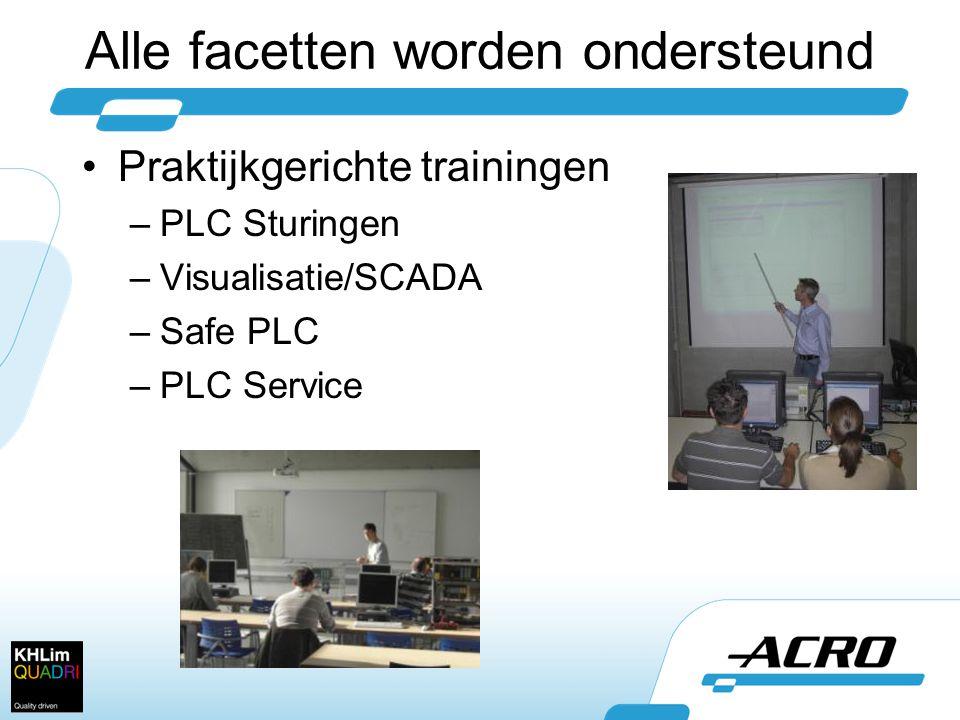 Alle facetten worden ondersteund •Praktijkgerichte trainingen –PLC Sturingen –Visualisatie/SCADA –Safe PLC –PLC Service