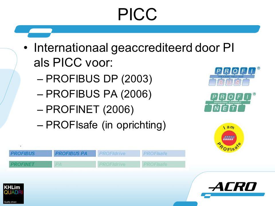 PICC •Internationaal geaccrediteerd door PI als PICC voor: –PROFIBUS DP (2003) –PROFIBUS PA (2006) –PROFINET (2006) –PROFIsafe (in oprichting)