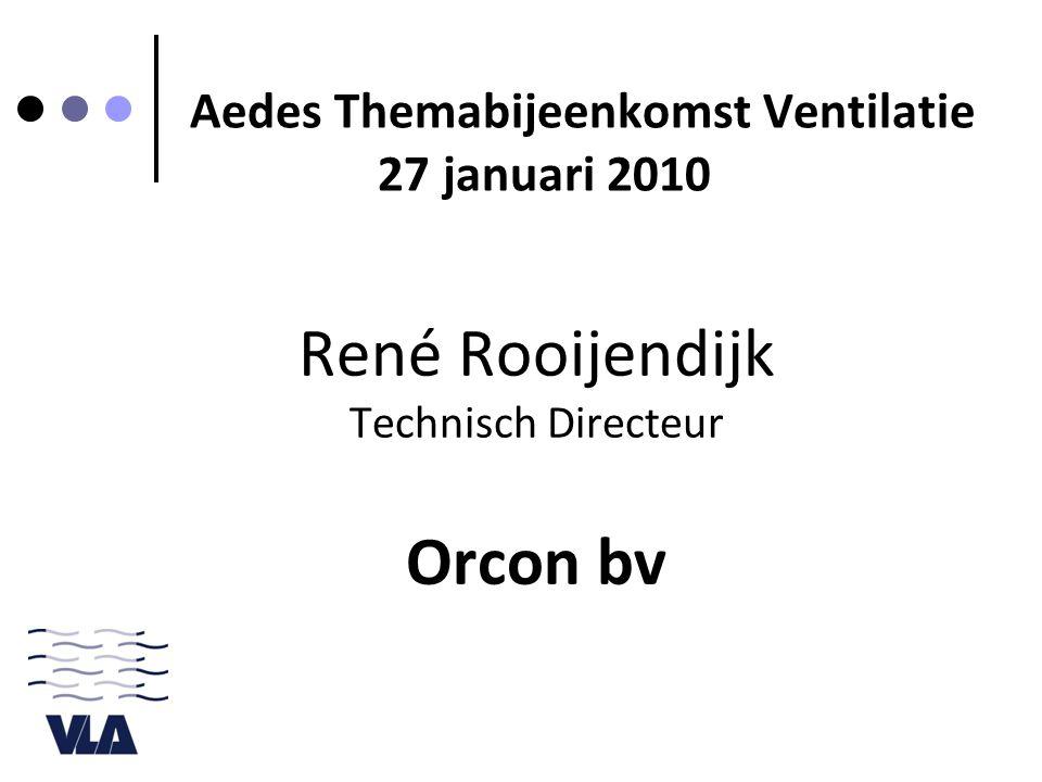 René Rooijendijk Technisch Directeur Orcon bv Aedes Themabijeenkomst Ventilatie 27 januari 2010