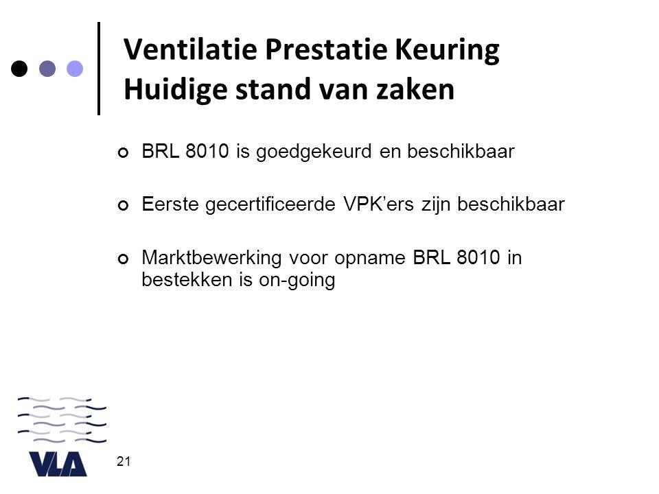 21 Ventilatie Prestatie Keuring Huidige stand van zaken BRL 8010 is goedgekeurd en beschikbaar Eerste gecertificeerde VPK'ers zijn beschikbaar Marktbewerking voor opname BRL 8010 in bestekken is on-going