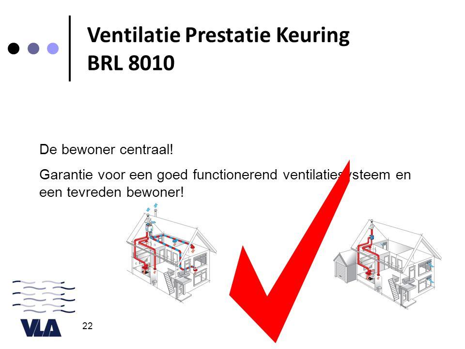 22 De bewoner centraal! Garantie voor een goed functionerend ventilatiesysteem en een tevreden bewoner! Ventilatie Prestatie Keuring BRL 8010