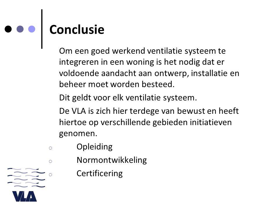 Conclusie Om een goed werkend ventilatie systeem te integreren in een woning is het nodig dat er voldoende aandacht aan ontwerp, installatie en beheer moet worden besteed.