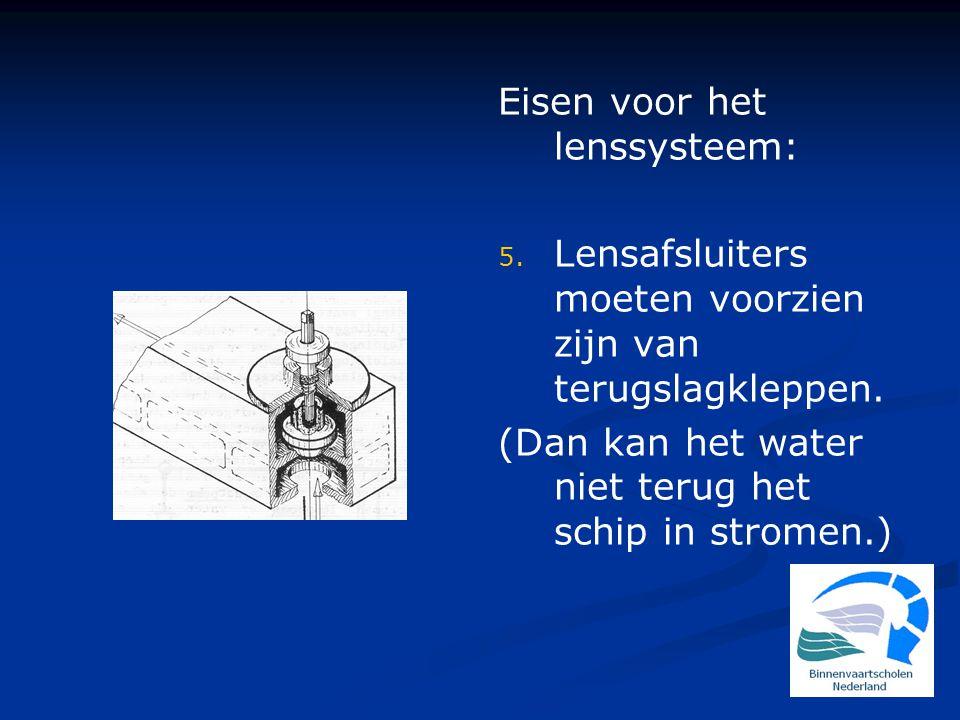 Eisen voor het lenssysteem: 5.Lensafsluiters moeten voorzien zijn van terugslagkleppen.