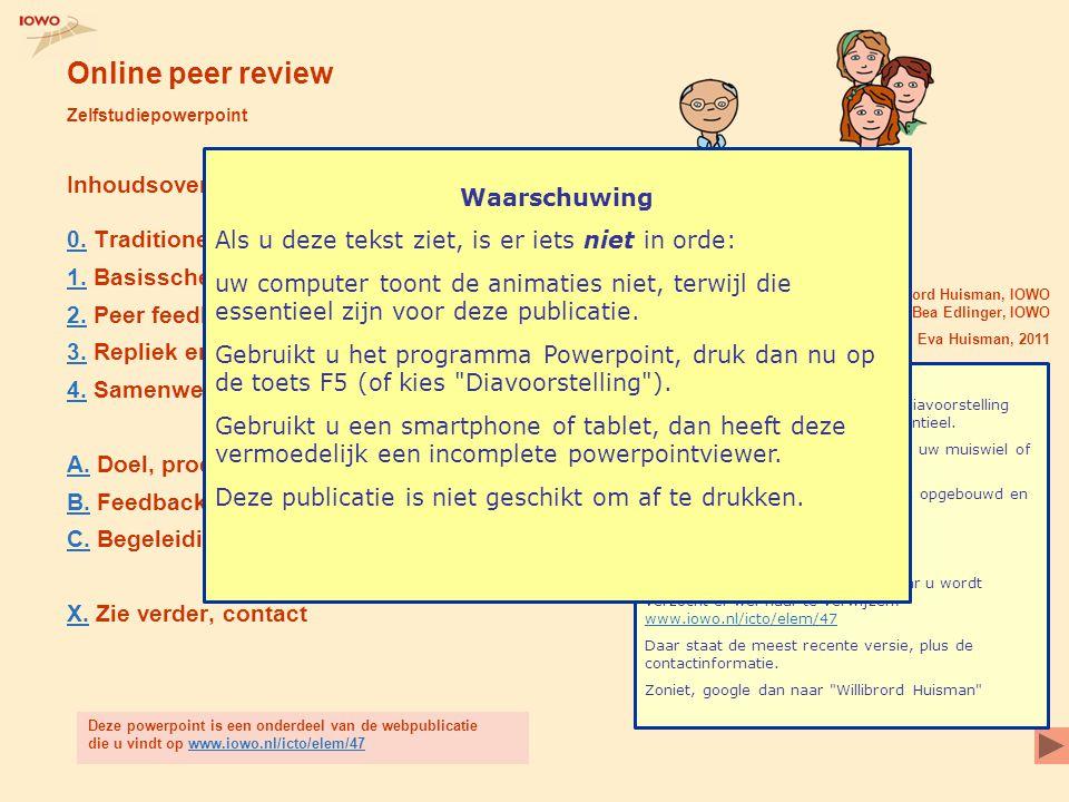 Online peer review Zelfstudiepowerpoint Inhoudsoverzicht 0.0. Traditioneel: feedback van docent alleen 1.1. Basisschema peer feedback 2.2. Peer feedba