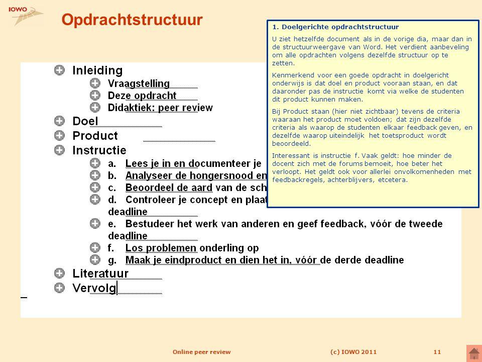 11 Opdrachtstructuur (c) IOWO 2011Online peer review 1. Doelgerichte opdrachtstructuur U ziet hetzelfde document als in de vorige dia, maar dan in de