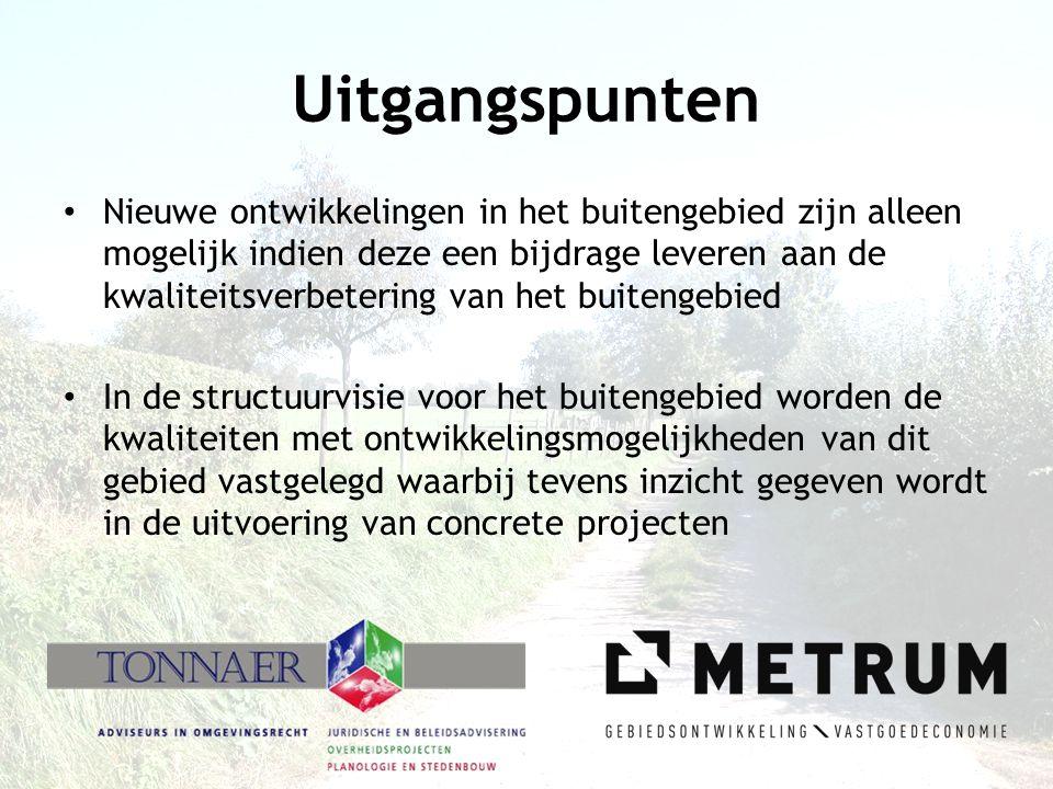 Randvoorwaarden Structuurvisies in de provincie Limburg: • Structuurvisie als basis voor de ontwikkelingen in het buitengebied (uitgangspunt voor nieuw bestemmingsplan) • Opnemen Limburgs Kwaliteitsmenu • Structuurvisie als basis voor het verhalen van bovenplanse kosten en bijdrage aan ruimtelijke ontwikkelingen