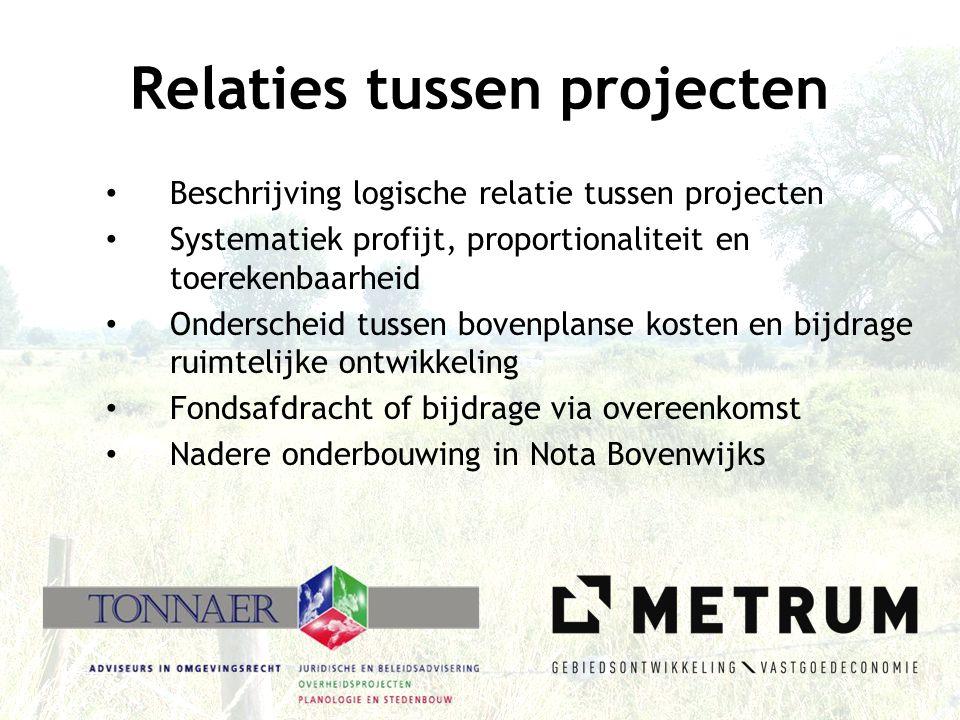 Relaties tussen projecten • Beschrijving logische relatie tussen projecten • Systematiek profijt, proportionaliteit en toerekenbaarheid • Onderscheid