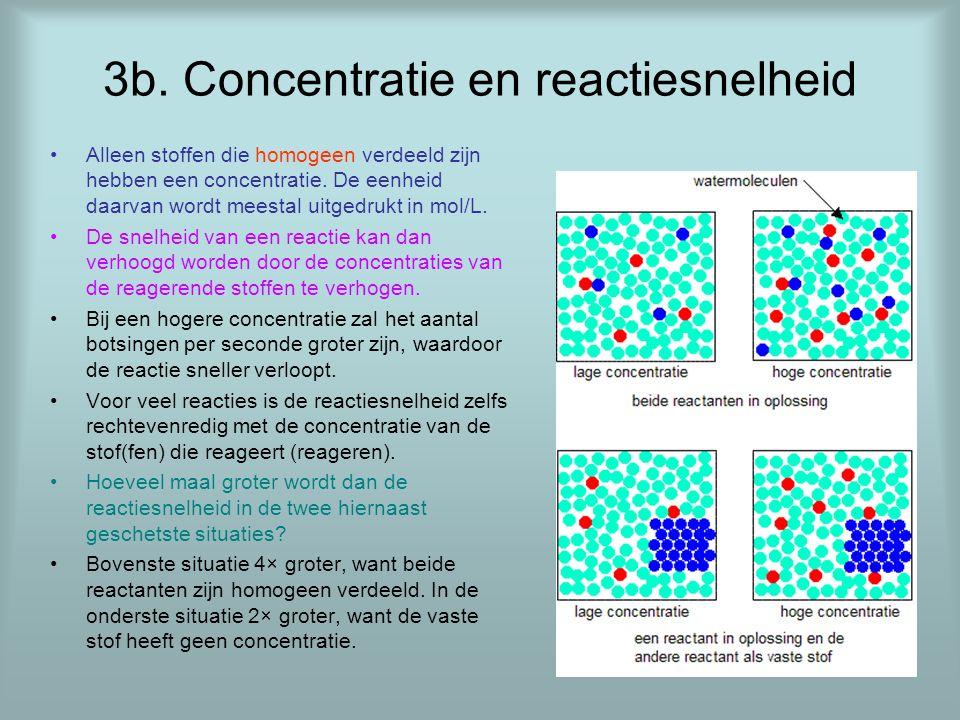 3b. Concentratie en reactiesnelheid •Alleen stoffen die homogeen verdeeld zijn hebben een concentratie. De eenheid daarvan wordt meestal uitgedrukt in