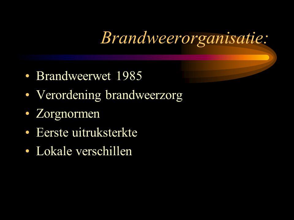 Brandweerorganisatie: •Brandweerwet 1985 •Verordening brandweerzorg •Zorgnormen •Eerste uitruksterkte •Lokale verschillen