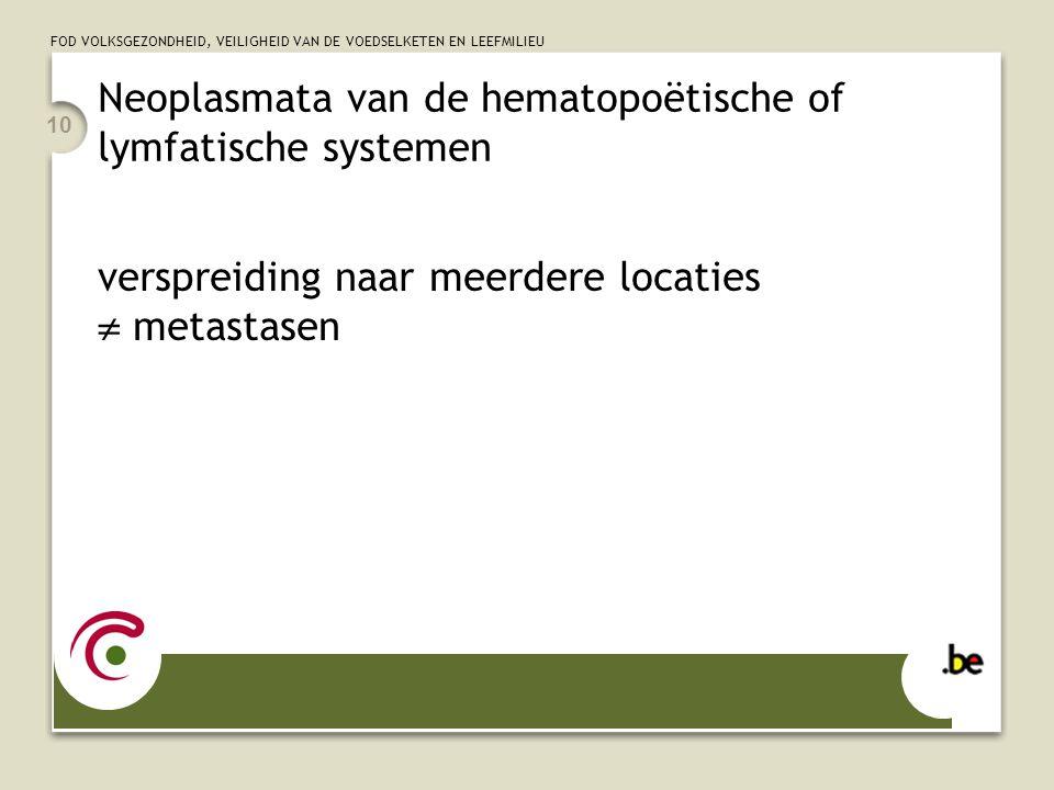 FOD VOLKSGEZONDHEID, VEILIGHEID VAN DE VOEDSELKETEN EN LEEFMILIEU 10 Neoplasmata van de hematopoëtische of lymfatische systemen verspreiding naar meer