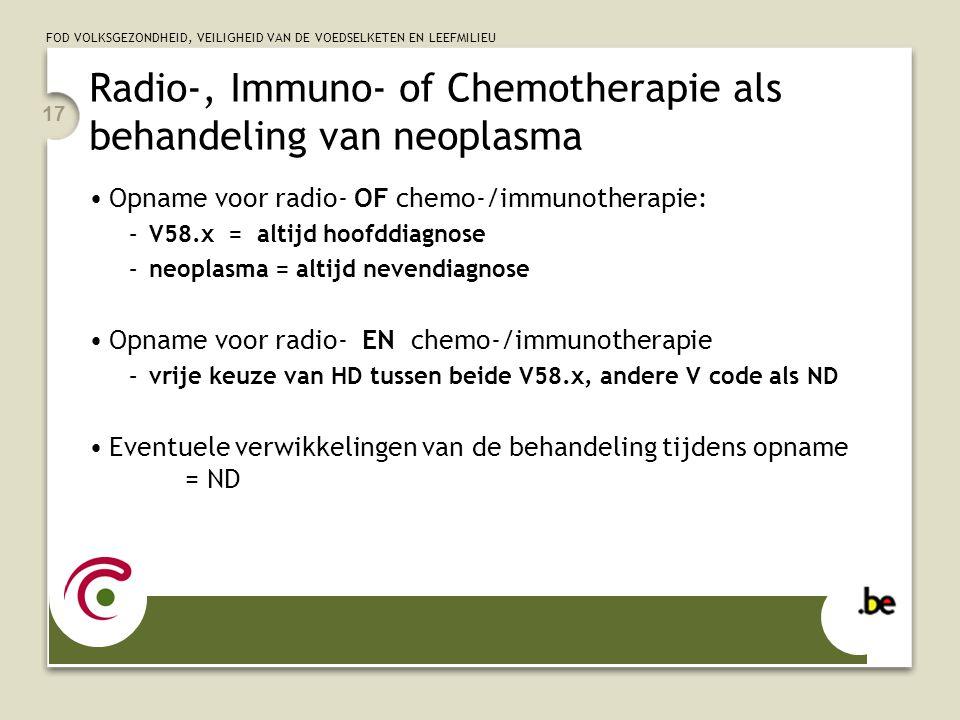 FOD VOLKSGEZONDHEID, VEILIGHEID VAN DE VOEDSELKETEN EN LEEFMILIEU 17 Radio-, Immuno- of Chemotherapie als behandeling van neoplasma •Opname voor radio