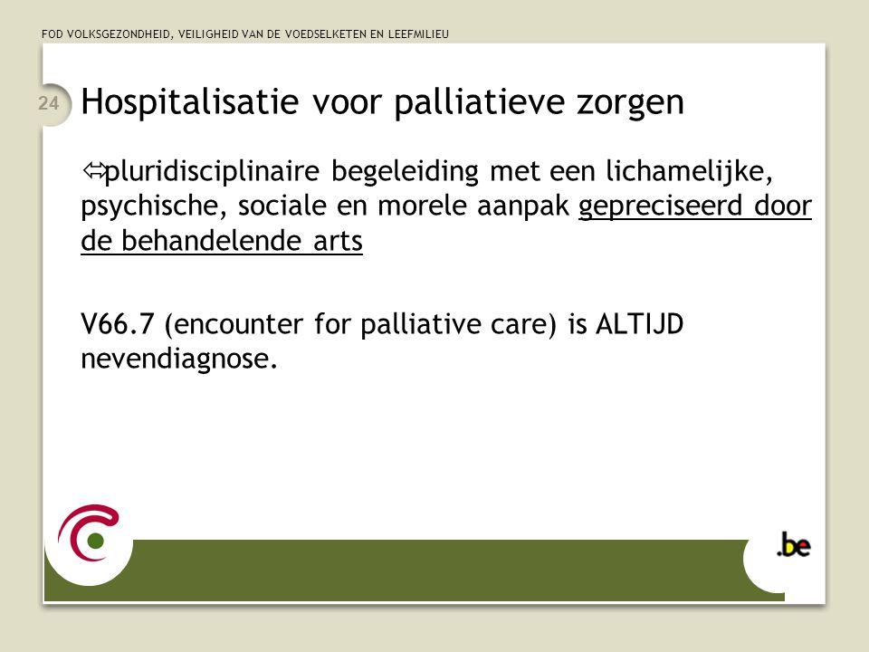FOD VOLKSGEZONDHEID, VEILIGHEID VAN DE VOEDSELKETEN EN LEEFMILIEU 24 Hospitalisatie voor palliatieve zorgen  pluridisciplinaire begeleiding met een l