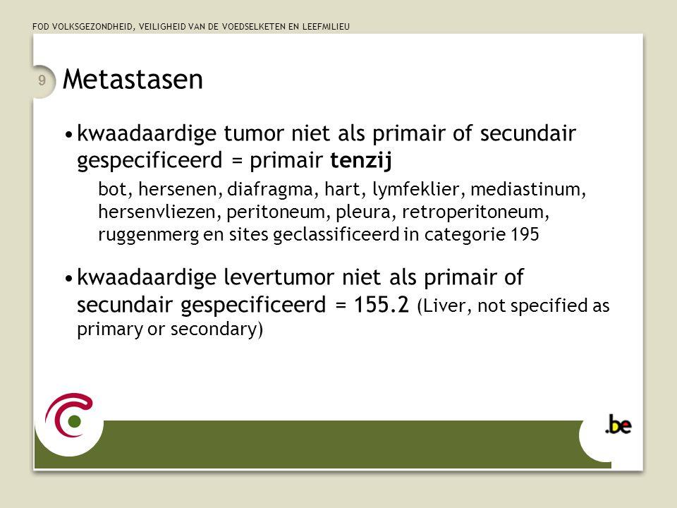 FOD VOLKSGEZONDHEID, VEILIGHEID VAN DE VOEDSELKETEN EN LEEFMILIEU 9 Metastasen •kwaadaardige tumor niet als primair of secundair gespecificeerd = prim