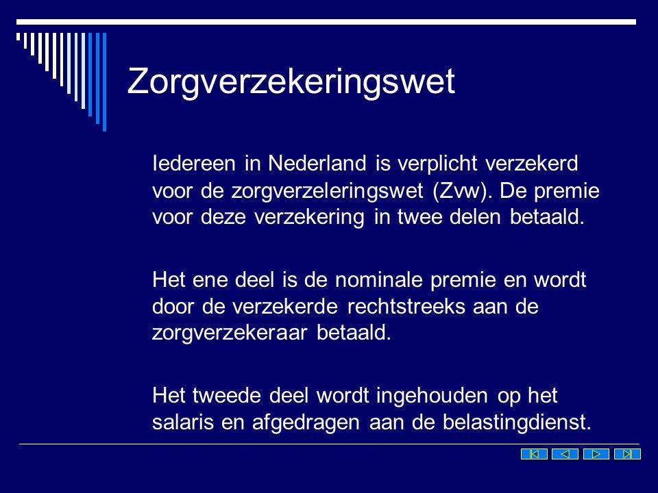 Zorgverzekeringswet Iedereen in Nederland is verplicht verzekerd voor de zorgverzeleringswet (Zvw). De premie voor deze verzekering in twee delen beta