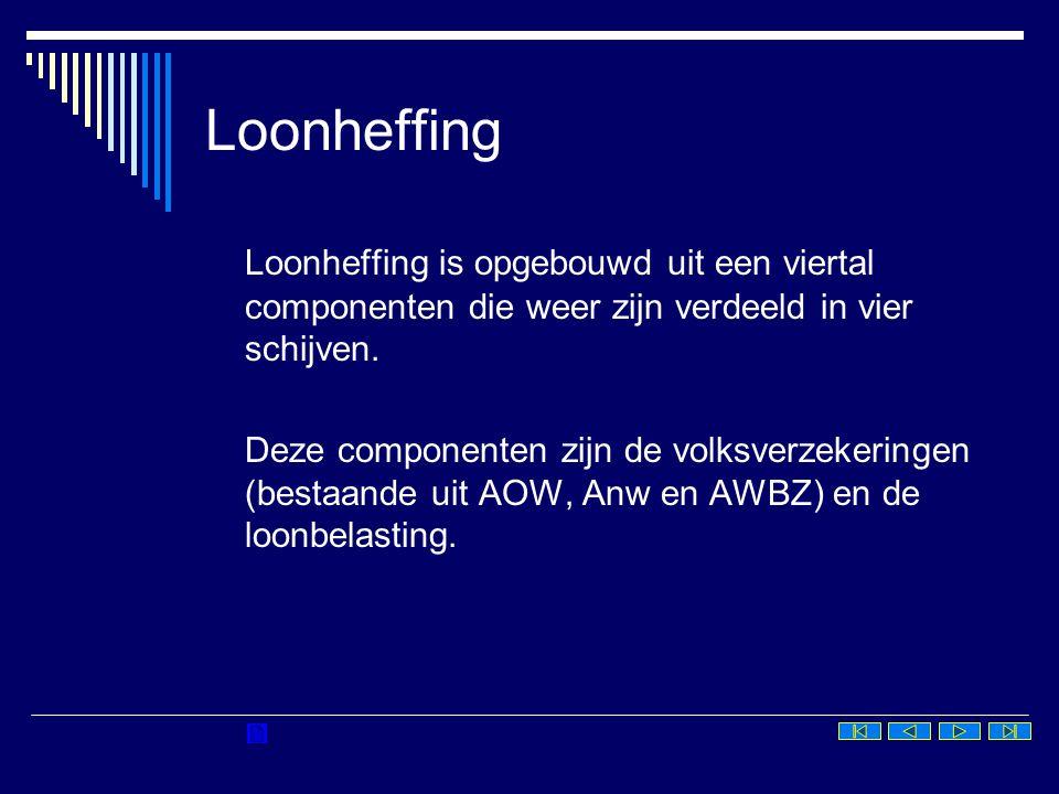Loonheffing Loonheffing is opgebouwd uit een viertal componenten die weer zijn verdeeld in vier schijven. Deze componenten zijn de volksverzekeringen
