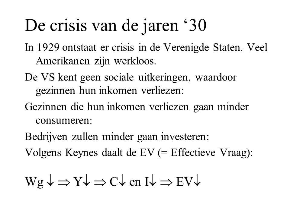 De crisis van de jaren '30 In 1929 ontstaat er crisis in de Verenigde Staten. Veel Amerikanen zijn werkloos. De VS kent geen sociale uitkeringen, waar