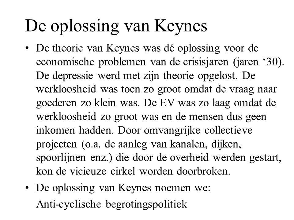 De oplossing van Keynes •De theorie van Keynes was dé oplossing voor de economische problemen van de crisisjaren (jaren '30). De depressie werd met zi