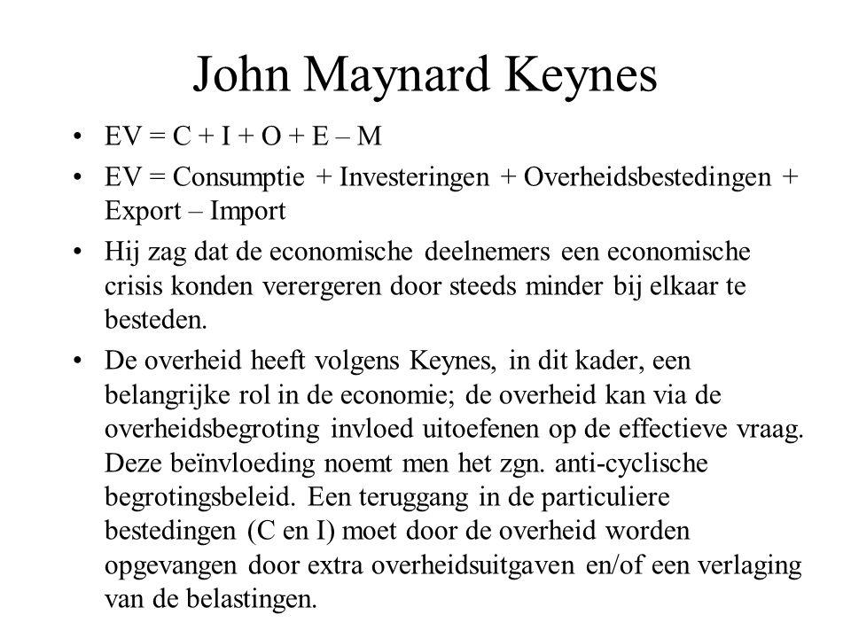 John Maynard Keynes •EV = C + I + O + E – M •EV = Consumptie + Investeringen + Overheidsbestedingen + Export – Import •Hij zag dat de economische deel
