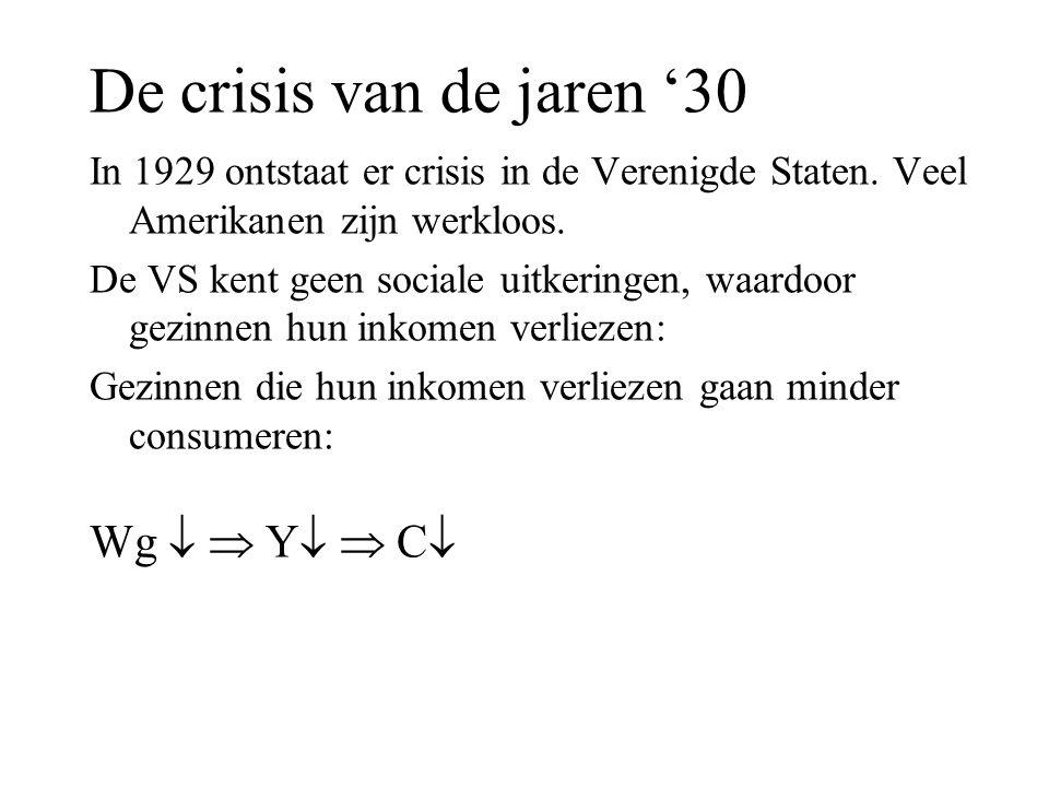 De crisis van de jaren '30 In 1929 ontstaat er crisis in de Verenigde Staten.