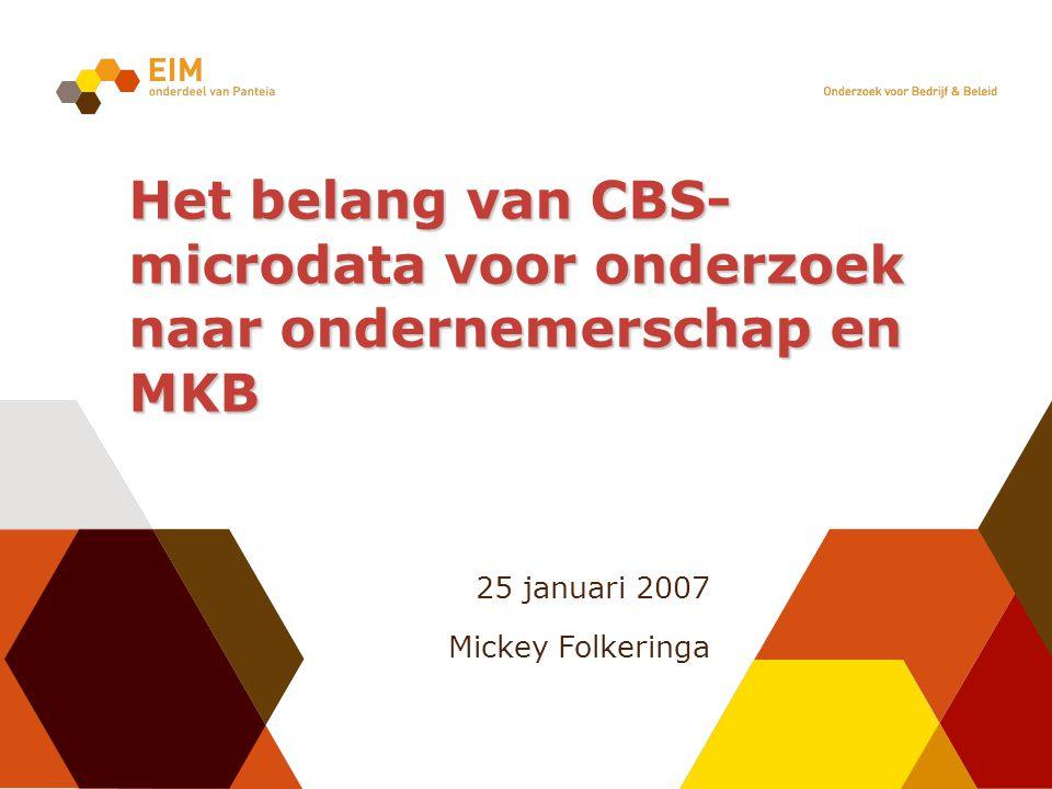 25 januari 2007 Mickey Folkeringa Het belang van CBS- microdata voor onderzoek naar ondernemerschap en MKB