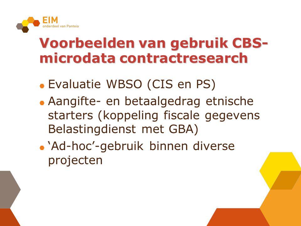 Voorbeelden van gebruik CBS- microdata contractresearch Evaluatie WBSO (CIS en PS) Aangifte- en betaalgedrag etnische starters (koppeling fiscale gegevens Belastingdienst met GBA) 'Ad-hoc'-gebruik binnen diverse projecten