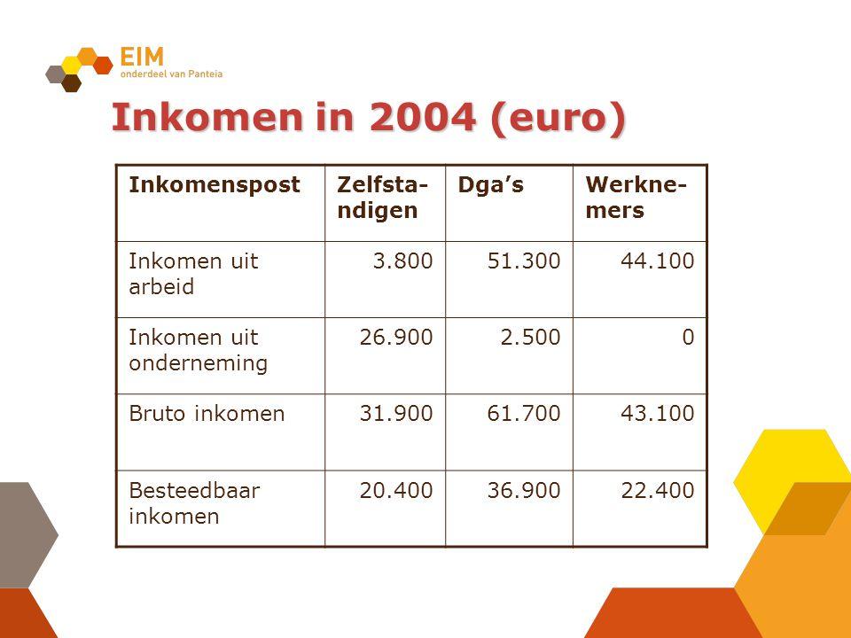 Inkomen in 2004 (euro) InkomenspostZelfsta- ndigen Dga'sWerkne- mers Inkomen uit arbeid 3.80051.30044.100 Inkomen uit onderneming 26.9002.5000 Bruto inkomen31.90061.70043.100 Besteedbaar inkomen 20.40036.90022.400