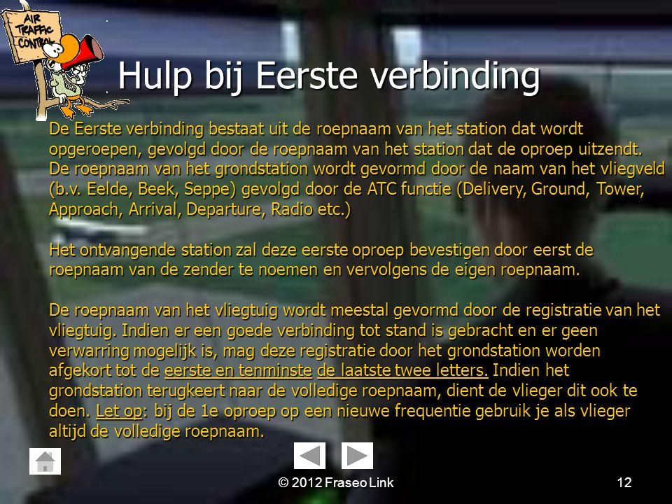© 2012 Fraseo Link11 Hulp bij het Spellen Hulp bij het Spellen Naast het ICAO spellingsalfabet worden de volgende regels toegepast: 1.Een punt of komm