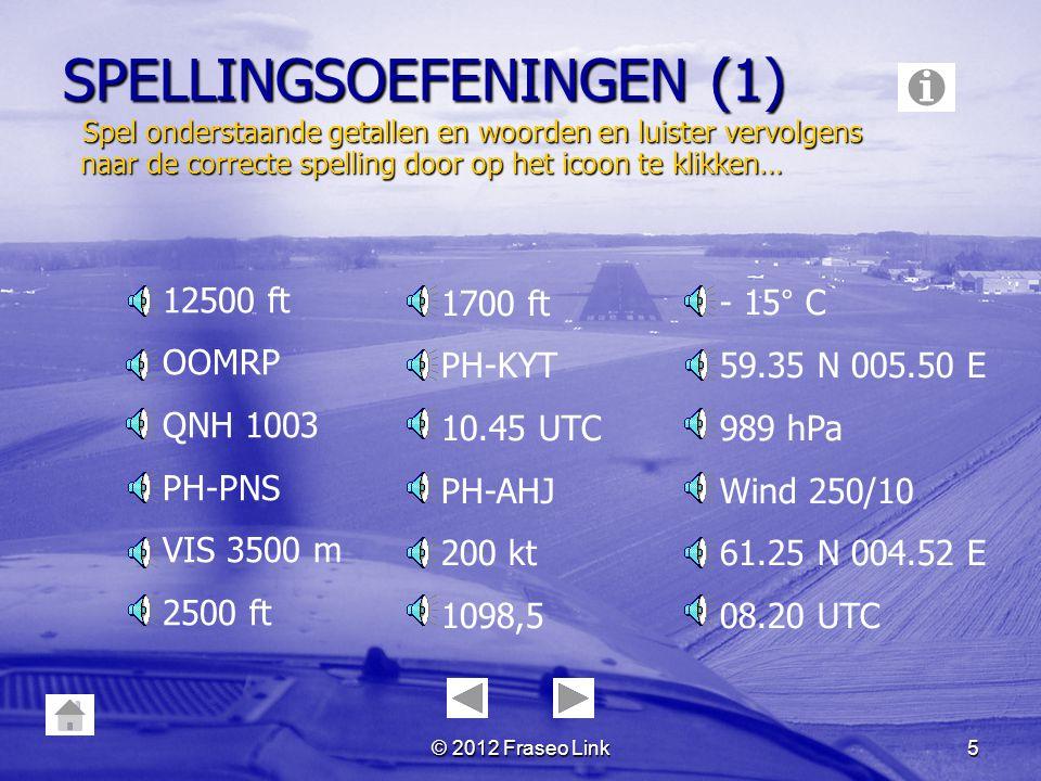 © 2012 Fraseo Link4 OVERZICHT deel 1 Spellingsoefeningen Eerste verbinding ProefoproepStart-upTaxiënTake-offCircuit