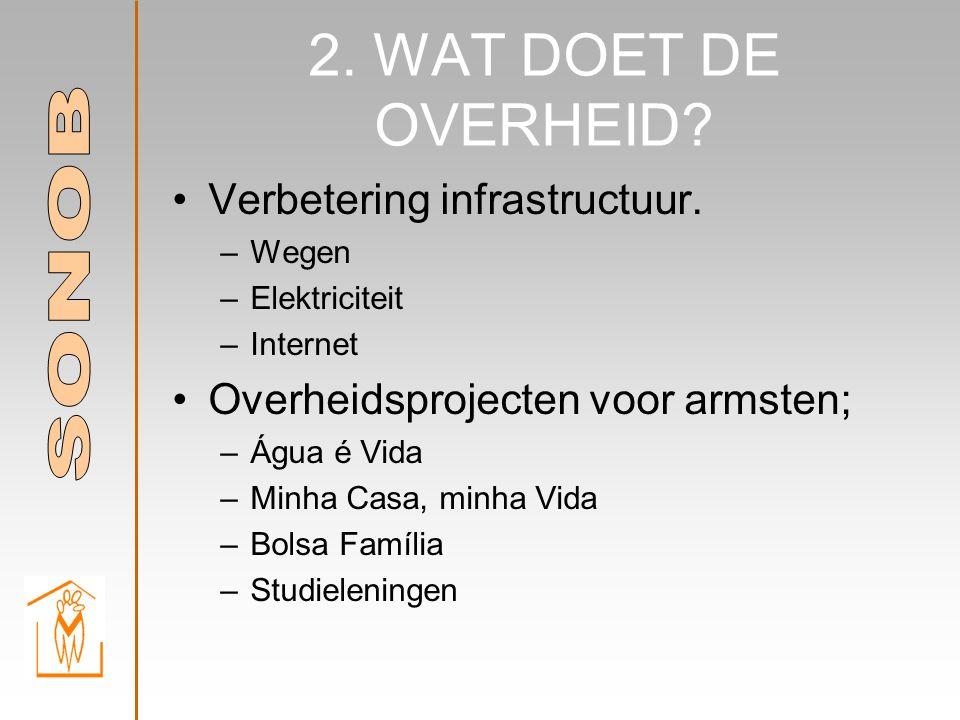 2. WAT DOET DE OVERHEID. •Verbetering infrastructuur.