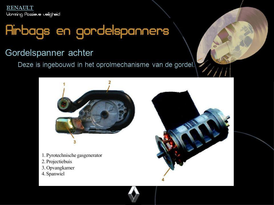 Gordelspanner achter Deze is ingebouwd in het oprolmechanisme van de gordel.