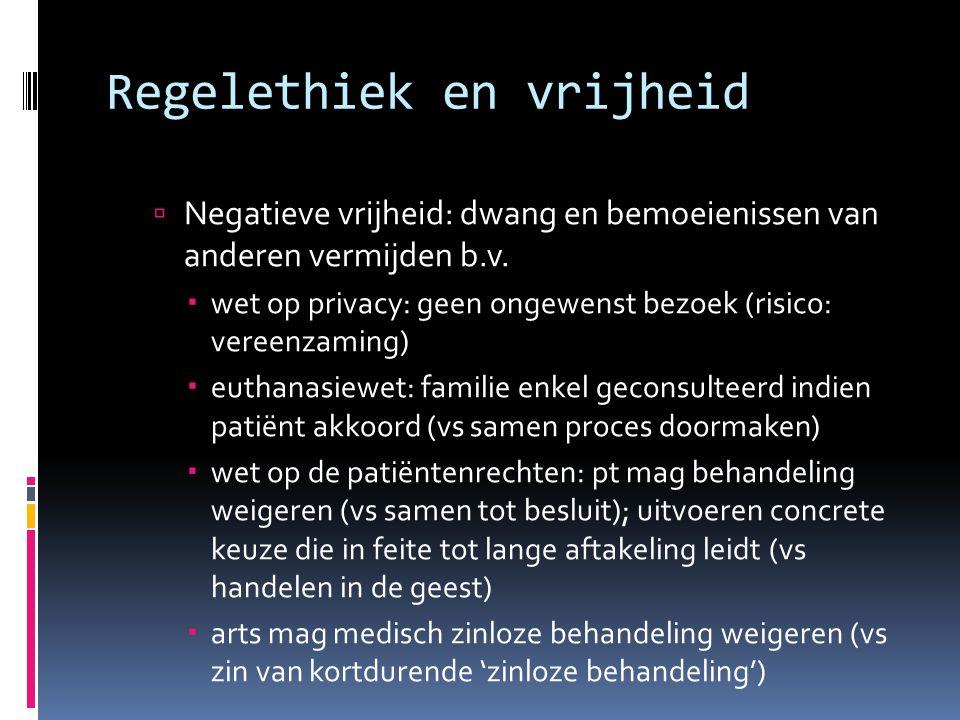  Negatieve vrijheid: dwang en bemoeienissen van anderen vermijden b.v.  wet op privacy: geen ongewenst bezoek (risico: vereenzaming)  euthanasiewet