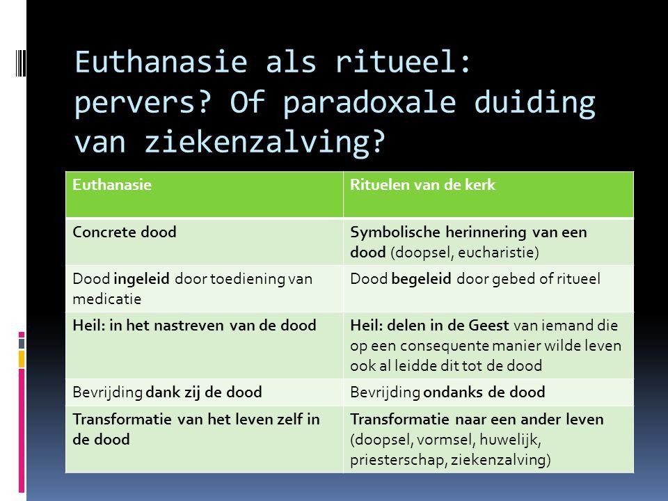 Euthanasie als ritueel: pervers? Of paradoxale duiding van ziekenzalving? EuthanasieRituelen van de kerk Concrete doodSymbolische herinnering van een