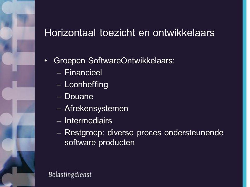 Horizontaal toezicht en ontwikkelaars •Groepen SoftwareOntwikkelaars: –Financieel –Loonheffing –Douane –Afrekensystemen –Intermediairs –Restgroep: div
