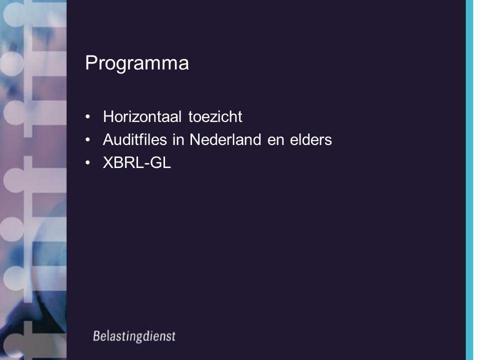 Programma •Horizontaal toezicht •Auditfiles in Nederland en elders •XBRL-GL