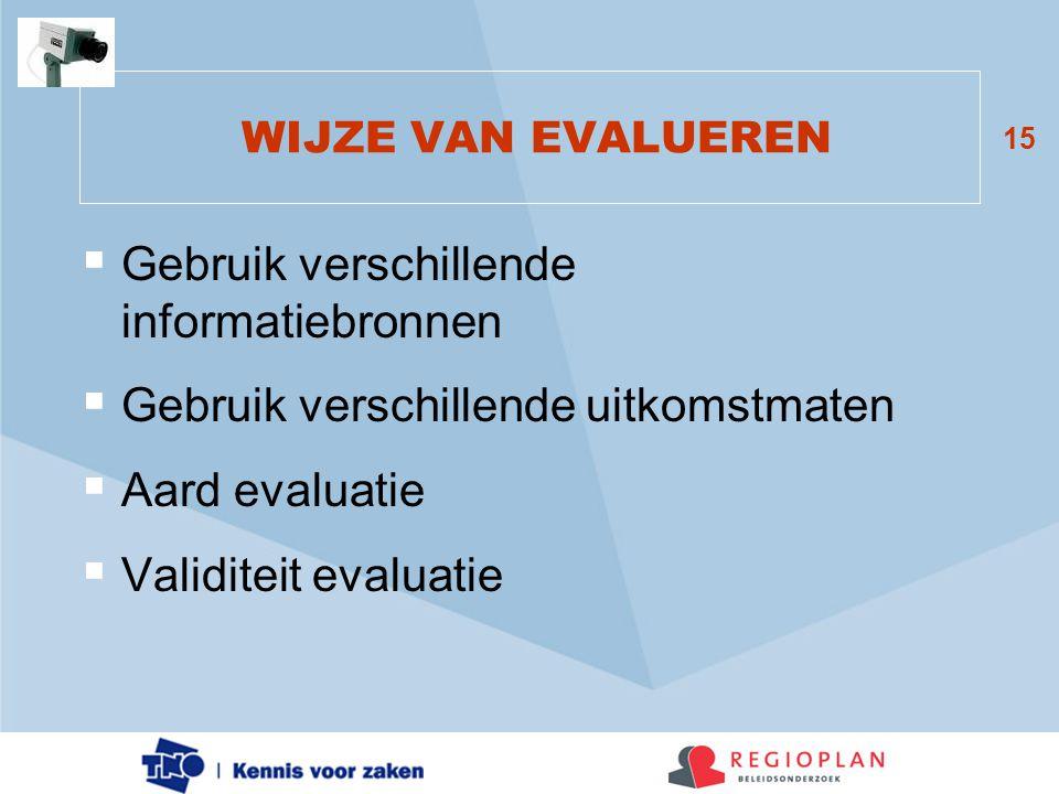 15 WIJZE VAN EVALUEREN  Gebruik verschillende informatiebronnen  Gebruik verschillende uitkomstmaten  Aard evaluatie  Validiteit evaluatie