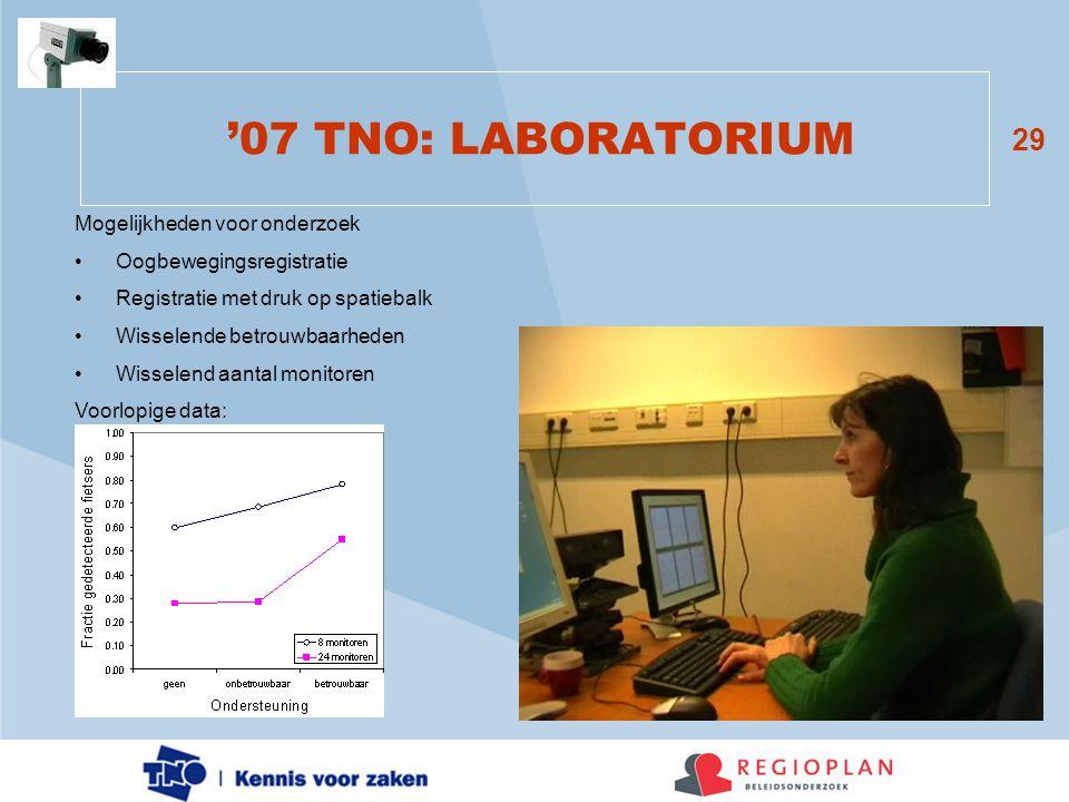 29 '07 TNO: LABORATORIUM Mogelijkheden voor onderzoek •Oogbewegingsregistratie •Registratie met druk op spatiebalk •Wisselende betrouwbaarheden •Wisse
