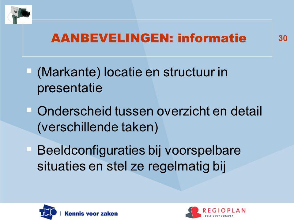 30 AANBEVELINGEN: informatie  (Markante) locatie en structuur in presentatie  Onderscheid tussen overzicht en detail (verschillende taken)  Beeldco