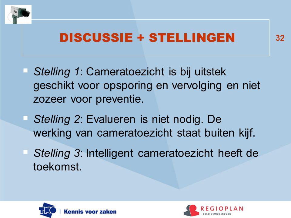 32 DISCUSSIE + STELLINGEN  Stelling 1: Cameratoezicht is bij uitstek geschikt voor opsporing en vervolging en niet zozeer voor preventie.  Stelling