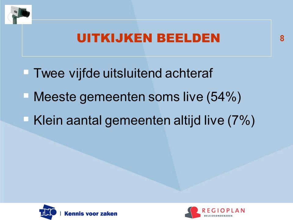 8 UITKIJKEN BEELDEN  Twee vijfde uitsluitend achteraf  Meeste gemeenten soms live (54%)  Klein aantal gemeenten altijd live (7%)