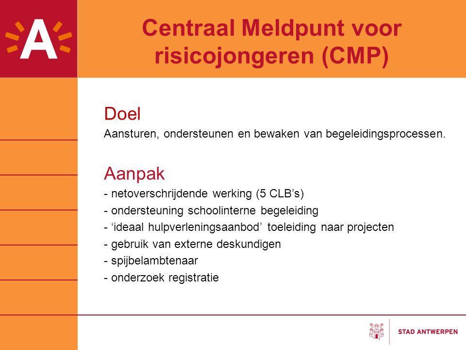 Centraal Meldpunt voor risicojongeren (CMP) Doel Aansturen, ondersteunen en bewaken van begeleidingsprocessen. Aanpak - netoverschrijdende werking (5