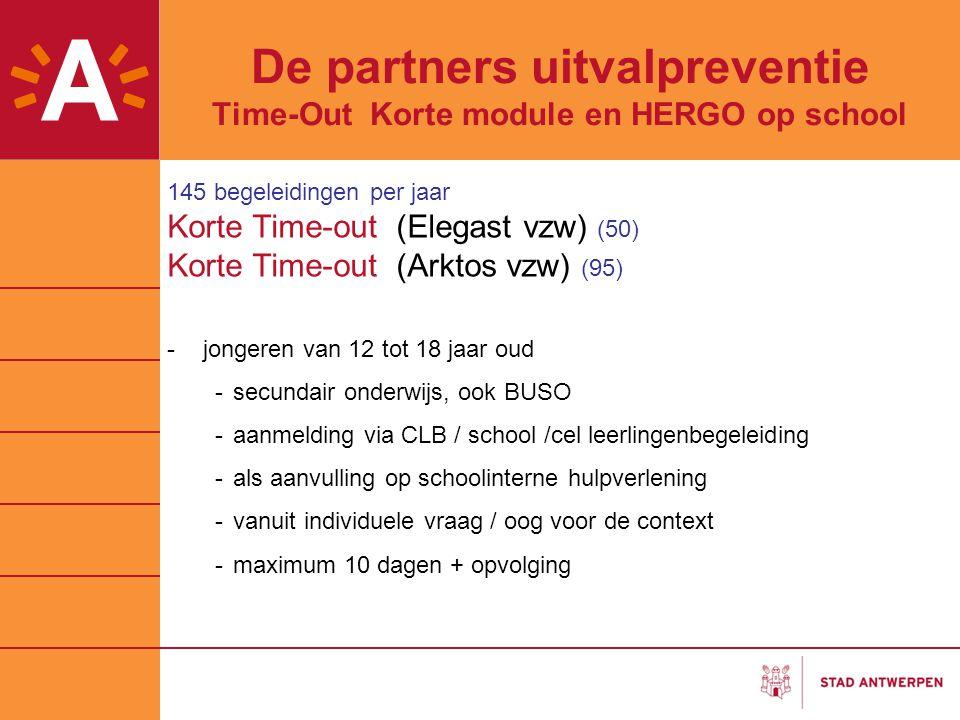 De partners uitvalpreventie Time-Out Korte module en HERGO op school 145 begeleidingen per jaar Korte Time-out (Elegast vzw) (50) Korte Time-out (Arkt
